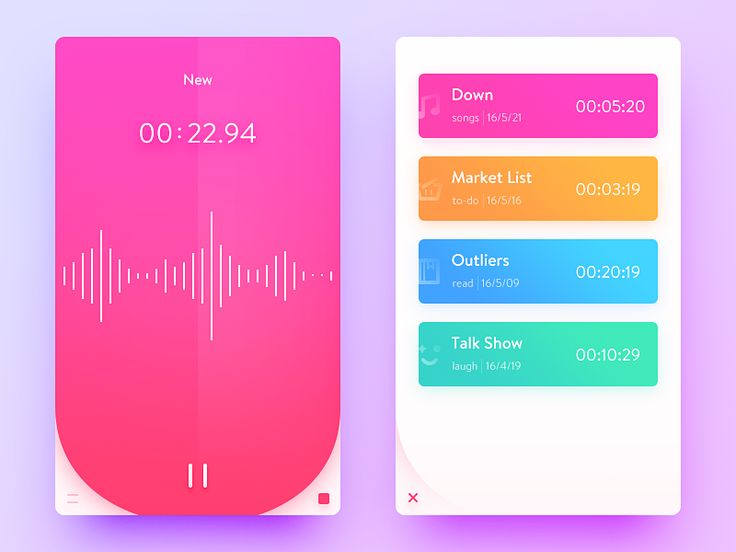 Daily UI #49  It's a Voice Memos app.  Redesign the iOS voice memos app. Add a category function, such as reading, singing, shopping lists, entertaining recordings, etc.  把ios原生的语音备忘录重设计了一下,加入了编辑分类...