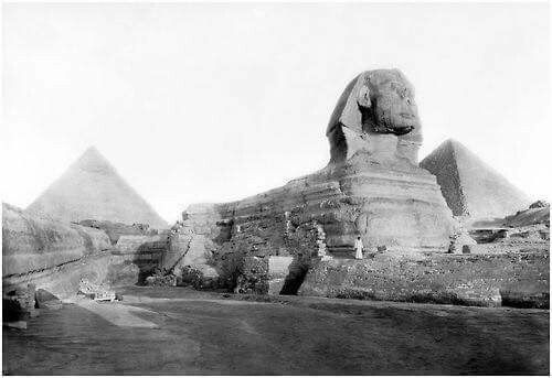 The Giant Sphinx of Giza in 1934.
