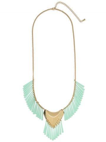 Mint Tribal Shield Necklace