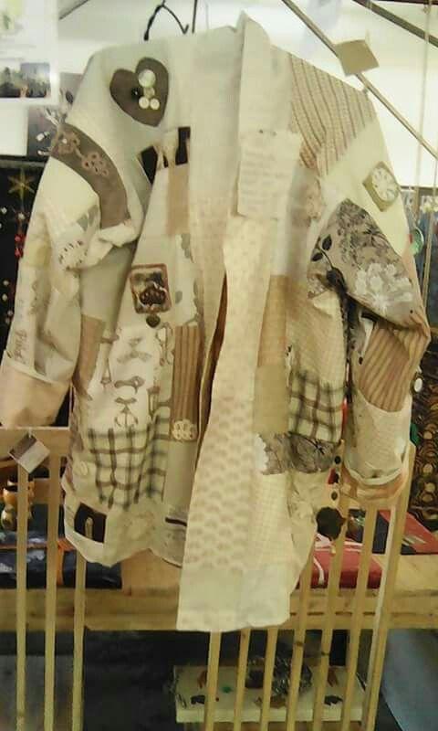 Beige patchwork bog coat