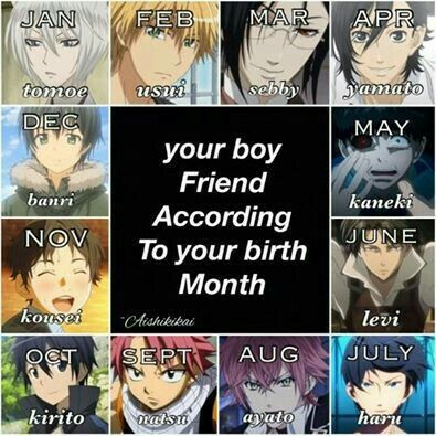 Your boy friend according to your birth month, birthday