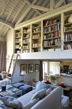 Sims Hilditch - Wiltshire Barn Conversion  Way to keep the height, create privacy upstairs and display your library.