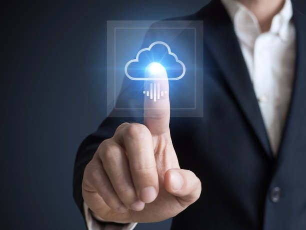 concept about cloud computing applications storage and services with