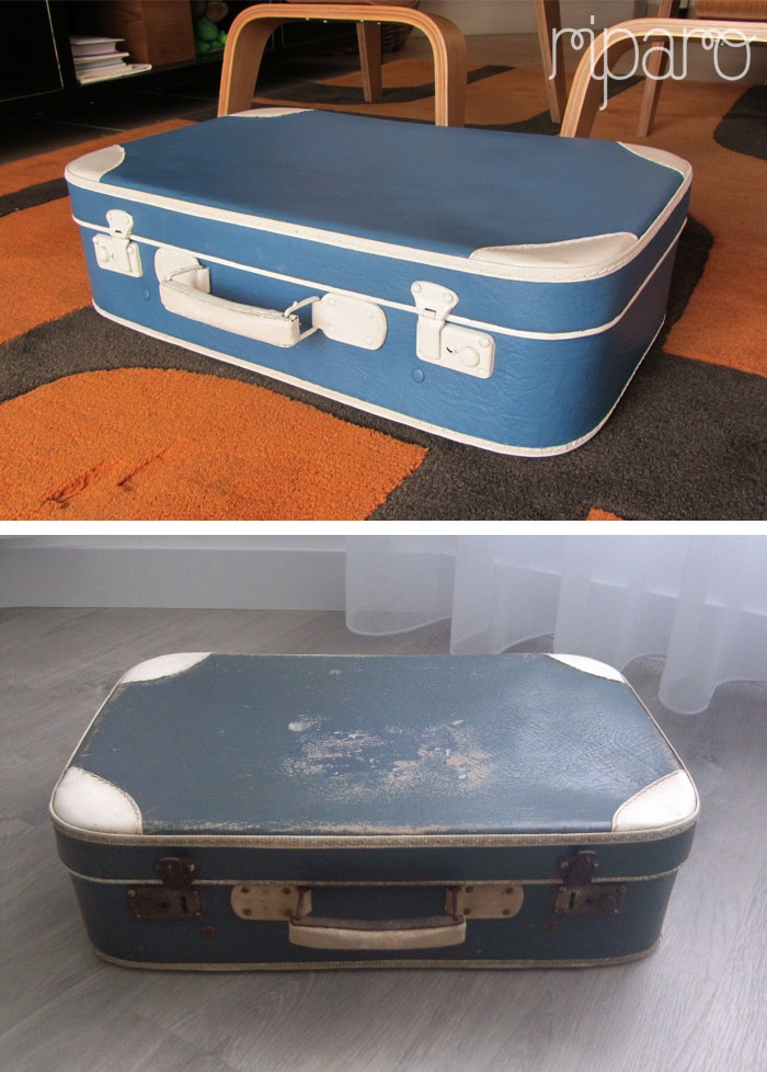 mala vintage azul