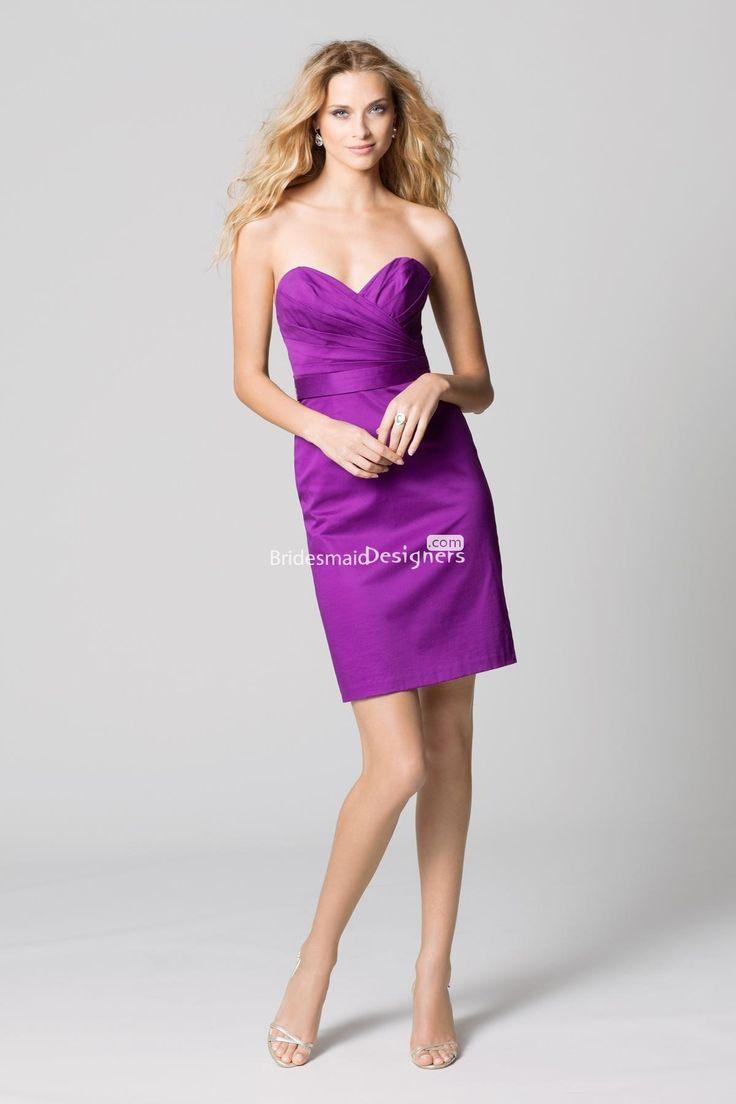 46 best purple bridesmaid dresses images on pinterest bridesmaid fashion fuchsia sweetheart sleeveless pleated short sheath cotton bridesmaid dress with band ombrellifo Gallery
