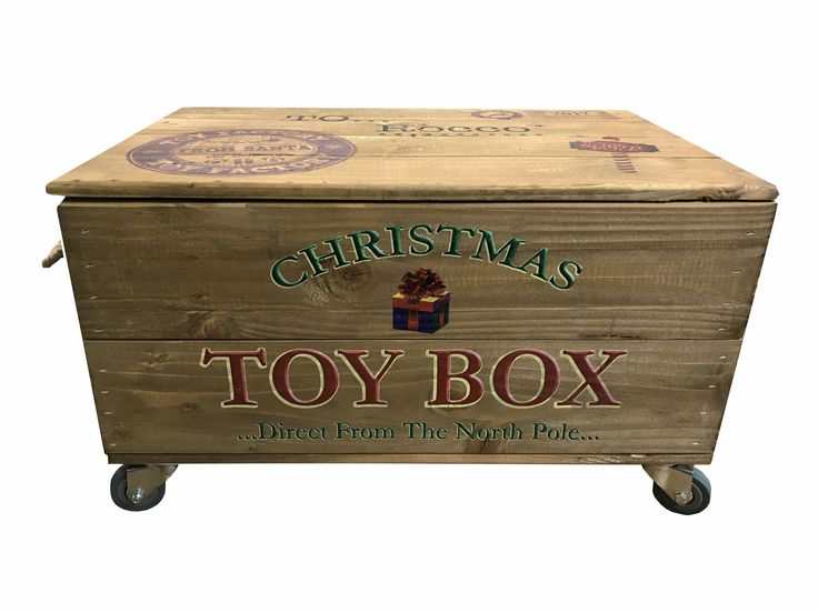 CHRISTMAS EVE BOX, CHRISTMAS TOYBOX, PERSONALISED CHRISTMAS CRATE, PERSONAILSED CHRISTMAS BOXES, GIFT BOX, TOY BOX WITH WHEELS, PERSONALISED WOODEN TOY BOX