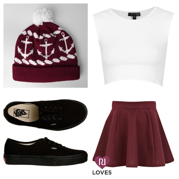 Red skater skirt white crop top black vans and a red beanie