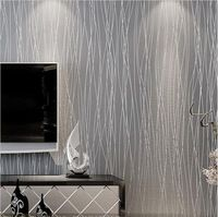 Non Woven Fashion Thin Flocking Vertical Stripes Wallpaper For living room Sofa background Grey Silver
