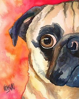 Pug art. I have this one too, beautiful colors!