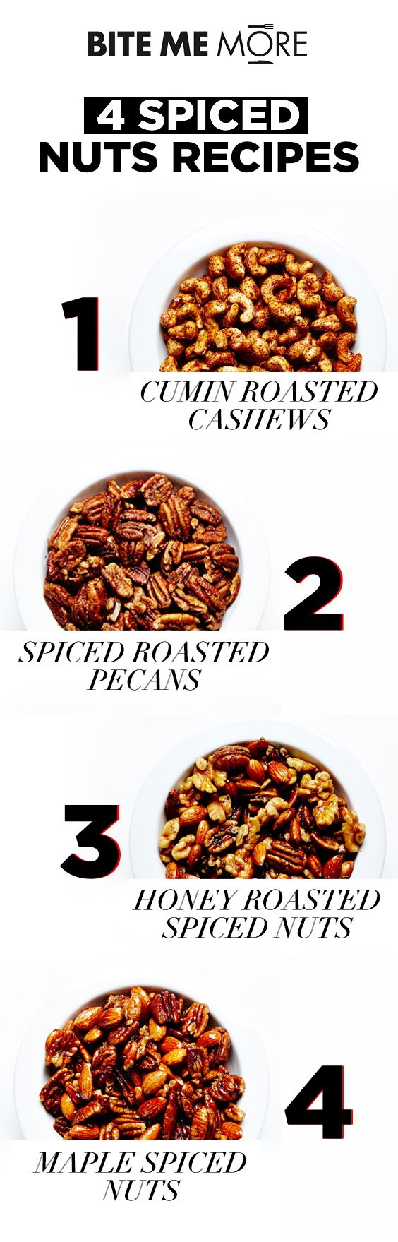 These 4 recipes for spiced nuts are the perfect cocktail companion! #BiteMeMore…
