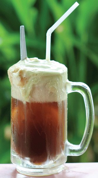 Jerry Float: 2 oz Sailor Jerry Spiced Rum, 4 oz root beer, 1-2 scoops vanilla ice cream. Add Sailor Jerry and root beer to a tall glass mug. Spoon vanilla ice cream on top. Serve with straws and spoons.