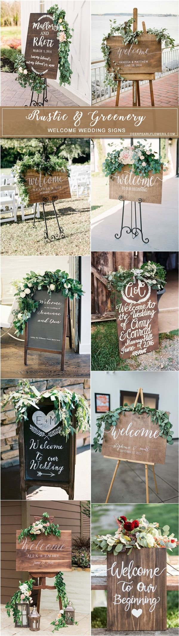 Rustic wooden welcome wedding signs