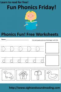 Free Phonics Friday!  Free Phonics Worksheets!  Visit http://www.sightandsoundreading.com for more free beginning reading resources.  #sightwords #phonics #kindergarten