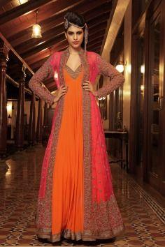 Nivedita Saboo ,  orange  , gown , pink , coral , hand embroidery full length  jacket  , mehendi , reception , sangeet , ethnic