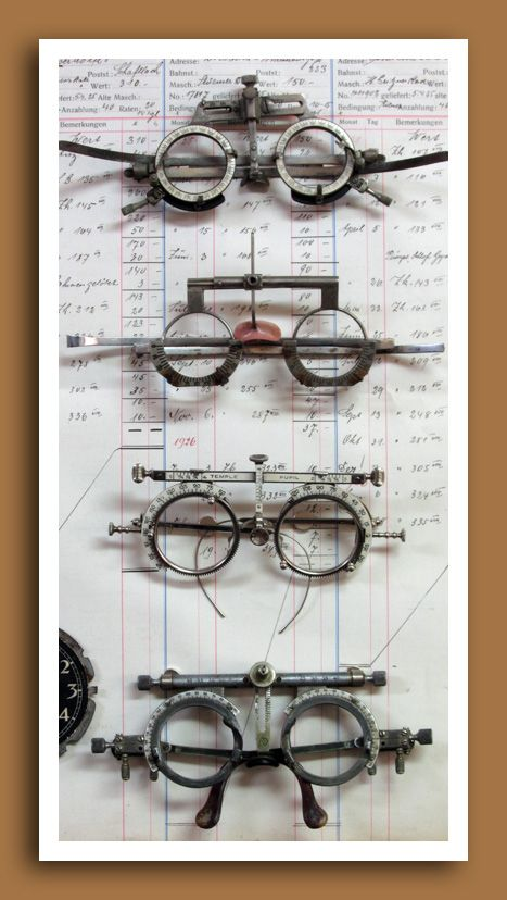 Vintage and antique optometrist's trial lens frames. http://bellebrocante.typepad.com