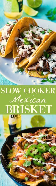Easy Slow Cooker Mexican Brisket recipe, simmered in a chile and spice sauce making it flavorful and so easy to shred.  Perfect for making tacos, nachos, burritos, salads, so many meal ideas! Easy dinner idea!