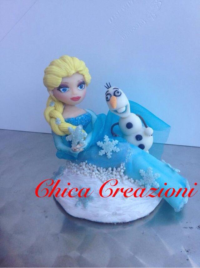 Top cake Elsa e Olaf Frozen  #porcellanafredda #pdm #elsa #frozen