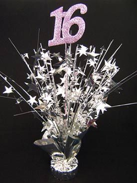 Weighted 16 centerpiece / balloon weight with stars spray pink and silver 06154-PD