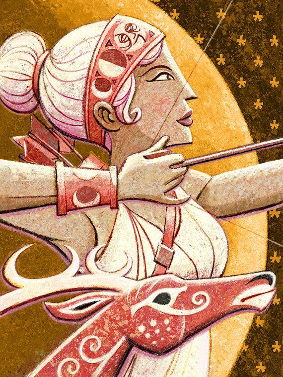 Dioses griegos Artemis 8 x 10 Print por glenmullaly en Etsy