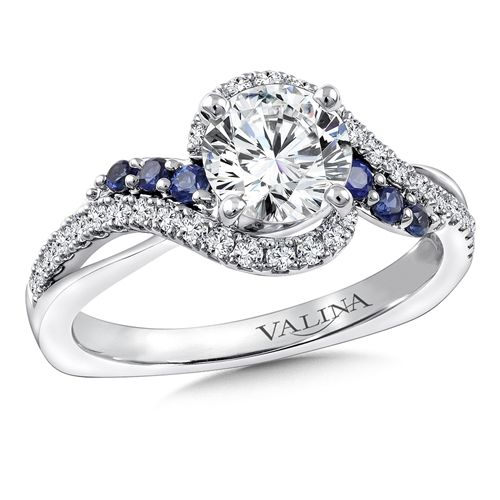 Diamond and blue sapphire criss-cross engagement ring mounting with side stones set in 14k white gold by Valina Bridals