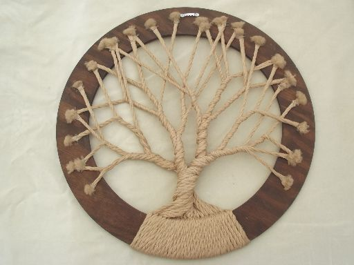Tree of life hippie vintage macrame wall hanging in huge circle frame