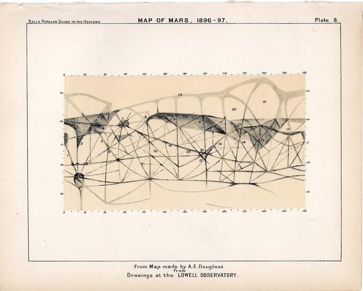 1910 mars planet map original antique celestial print.
