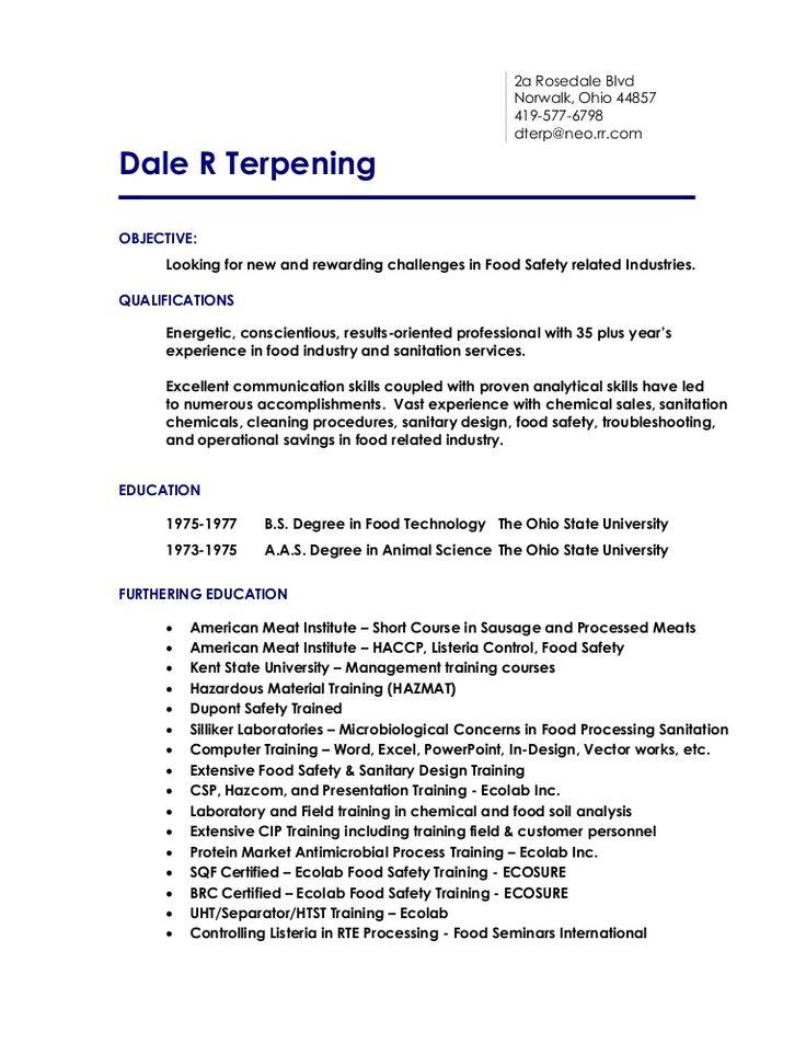 resume-new2013 by Dale R Terpening via Slideshare Dale Terpening - food industry resume