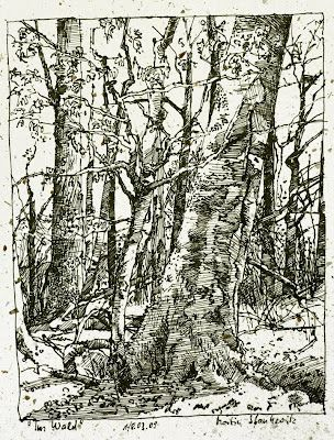 landscape with trees, ink drawing Edition Handdruck