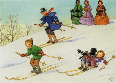 """Uncle Blue skiing. Illustration by Elsa Beskow. From """"Around the Year""""."""