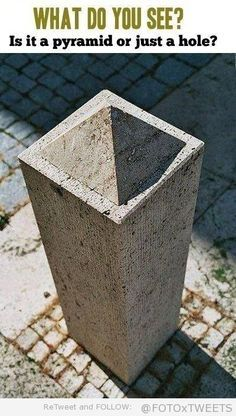 Its a pyramid because it has a small shadow on the top of the pillar