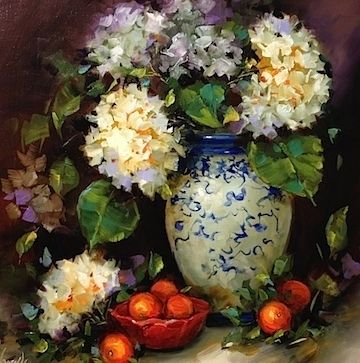 Halos and Hydrangeas by Nancy Medina Oil ~ 20 x 20