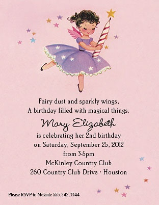 Uber sweet! Vintage fairies birthday party! Fairy dust invitations. Matching favor bags, fairy crown, banner, too! $14 at babygardner.com