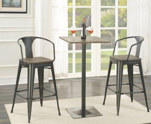 Beautiful 3 Piece Bar Table Set with Wine Rack Base