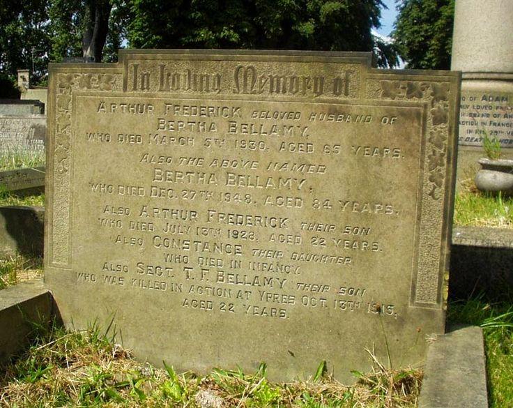Barnsley War Memorials Project: Ardsley Cemetery, Thomas Francis Bellamy