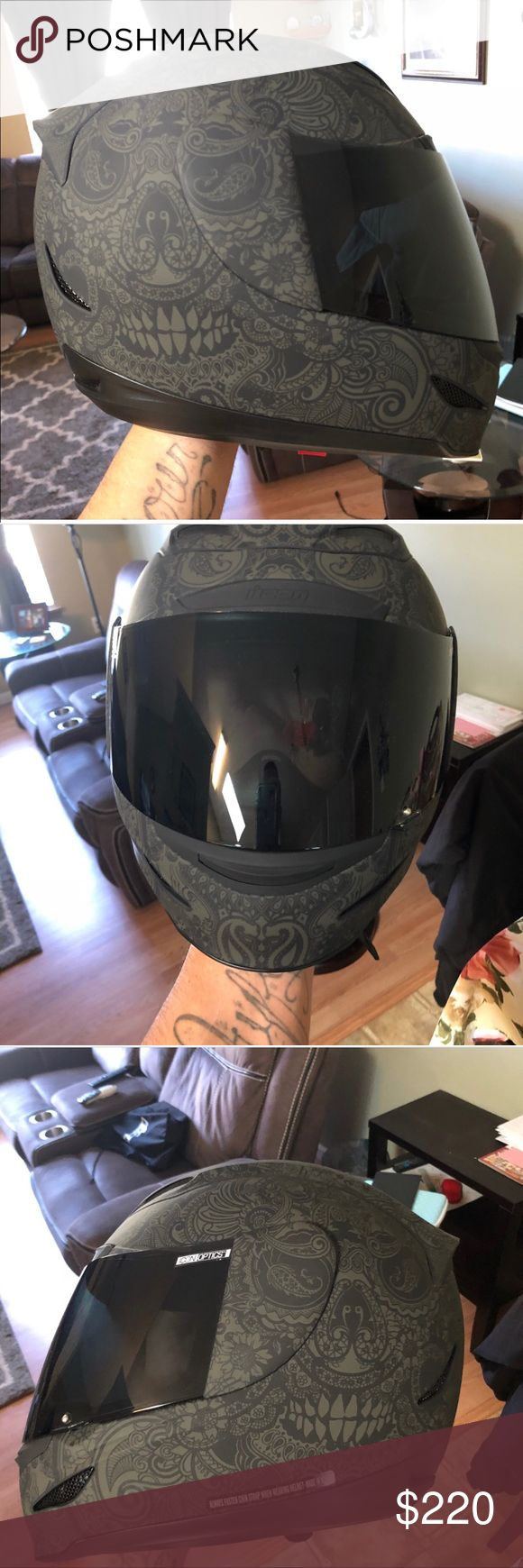 Icon helmet FOR SALE!! This is a great deal for this helmet I've only worn it once for 30 minutes I'm sad to get rid of it but sadly we don't ride anymore😔 it's a size small it also comes with tinted and clear lens asking $220 but will take best offer💕 ICON Other