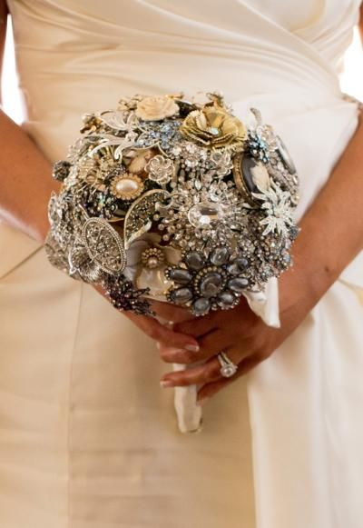 Bouquet made with vintage brooches, will be good replacement for flowers so won't be suffering from allergies!
