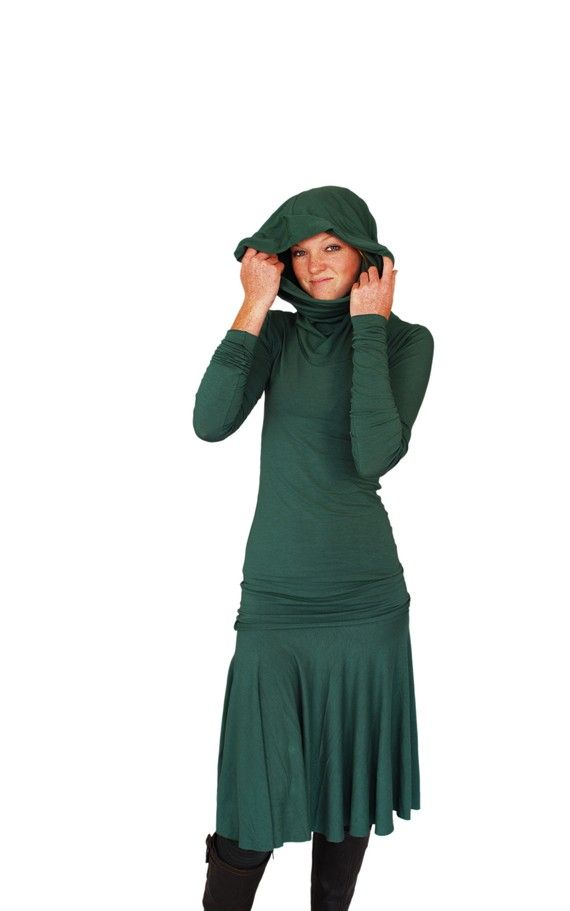 Emerald Green Women's Top, Long Sleeve Fitted Tunic with Hoodie by SoulRole $85.00