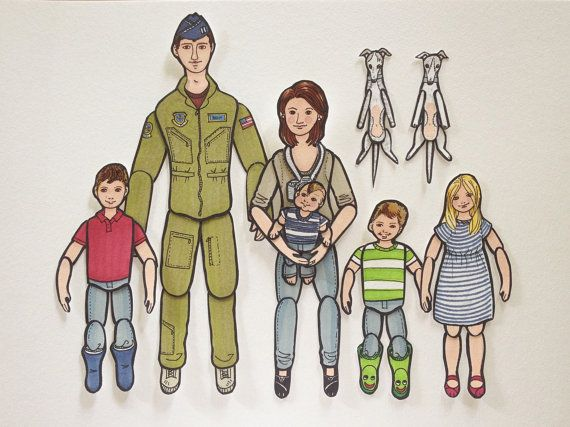 Articulated Paper Dolls  Custom FAMILY portraits by LaCatrinaArt