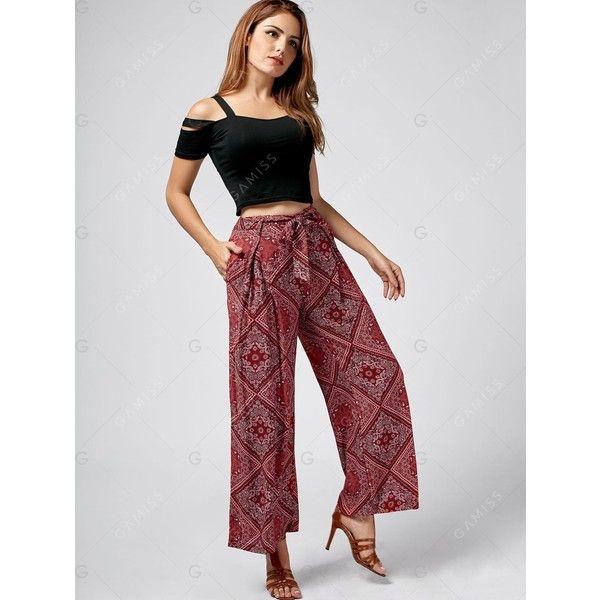 Pockets Paisley Print Exumas Pants ($11) ❤ liked on Polyvore featuring pants, paisley print pants, paisley pants, red trousers, red pants and pocket pants