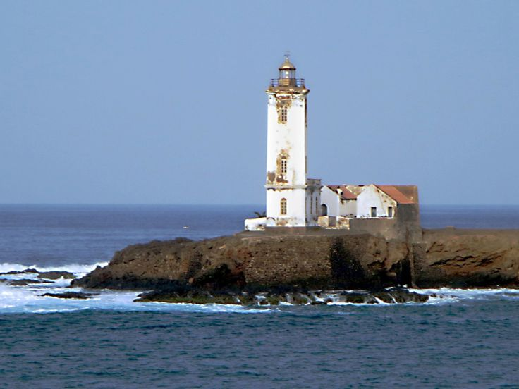 The Farol Dona Maria Pia at Ponta Temerosa marks the entrance to the harbour at Praia on Santiago Island, Cape Verde.
