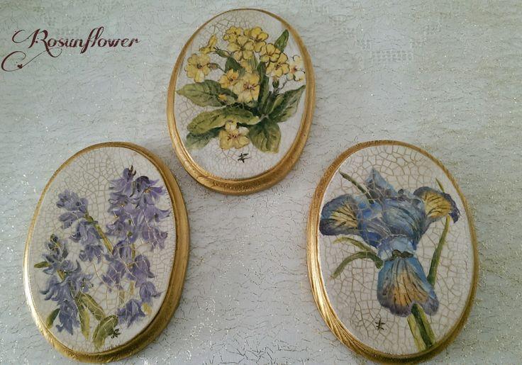 Originale pittura su legno/ tre quadretti dipinti con colori acrilici/ fiori dipinti a mano su legno di Rosunflower su Etsy