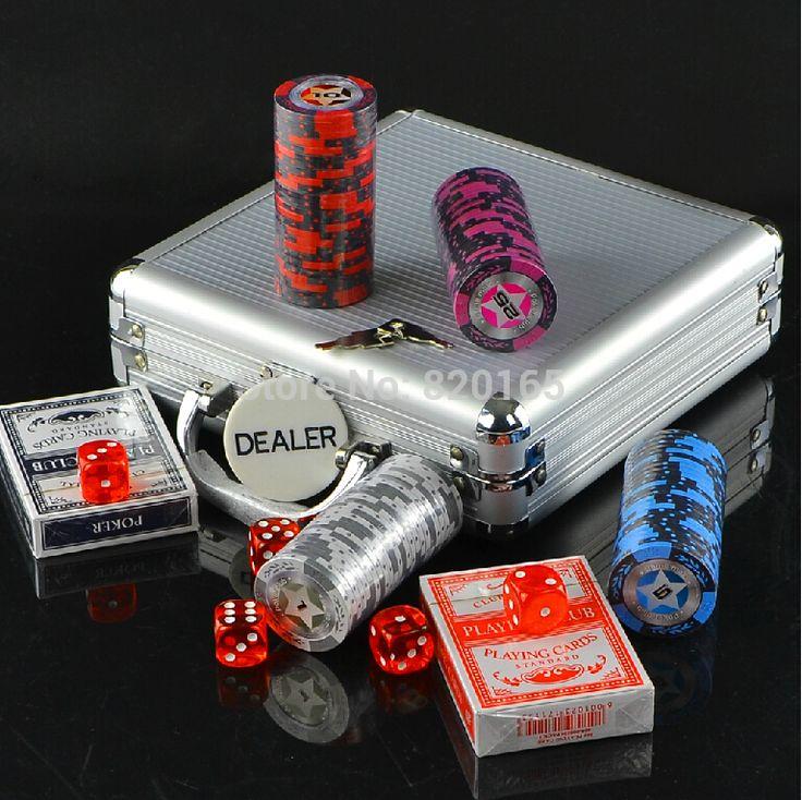 Poker Chips Set Casino Chips Texas Holdem Poker  Aluminum Box Set 100 Chips+2 Poker+5 Dice+1 Dealer Fichas Poker High Quality