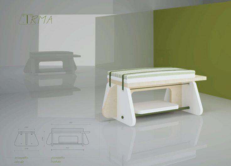 Formabilio - Irma è un mobile moderno e flessibile. Può essere utilizzato come sgabello oppure togliendo semplicemente i due cuscini come tavolino o comodino. Ideale per il soggiorno o la camera da letto.
