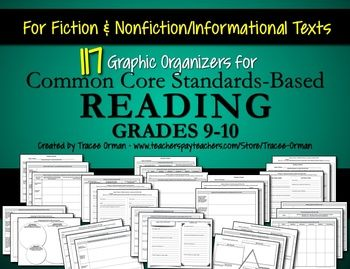 Common Core Reading Informational & Literature Graphic Organizers (Grades 9-10)   by Tracee Orman   $8.00
