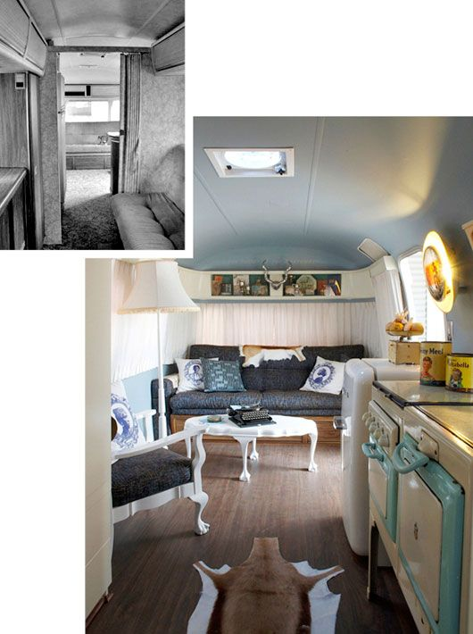 Before-after-interior of vintage trailer designed for Old Mac Daddy Luxury Trailer Park in Elgin, South Africa