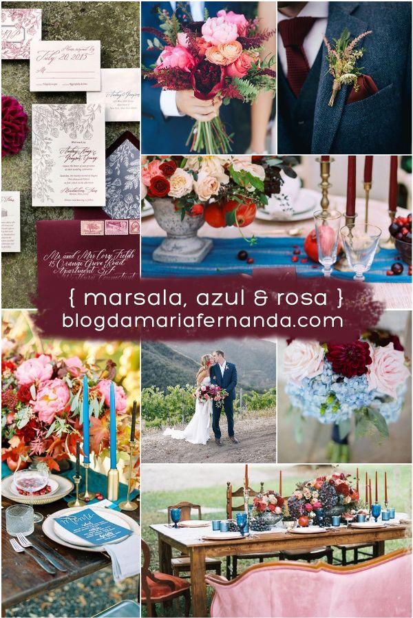 Decoração de Casamento : Paleta de Cores Marsala, Azul e Rosa | http://blogdamariafernanda.com/decoracao-de-casamento-paleta-de-cores-marsala-azul-e-rosa