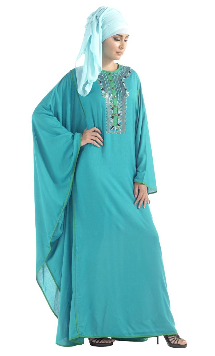 Our exclusive Rayon embroidered Kaftan in Blue, Black and Turquoise Elegant hand embroidery and princess seam piping