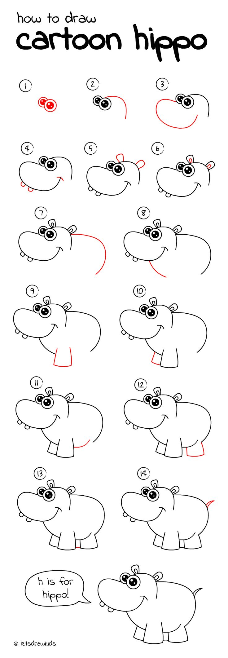 how to draw cartoon hippo easy drawing step by step perfect for kids - Drawing Sketch For Kids