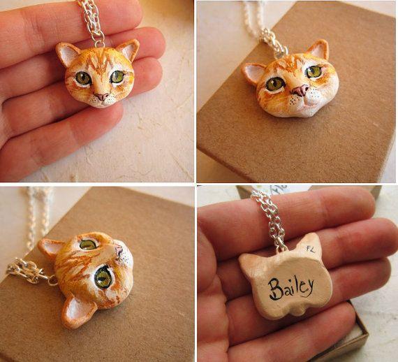 Cat Portrait Necklace or Brooch Portrait of your by FlowerLandShop