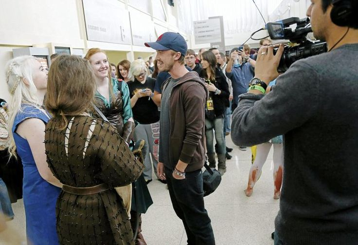 Who's knocking on the door? It's Tom Felton. The actor who played Draco Malfoy attended a convention in Tulsa and is directing a documentary on fandom.
